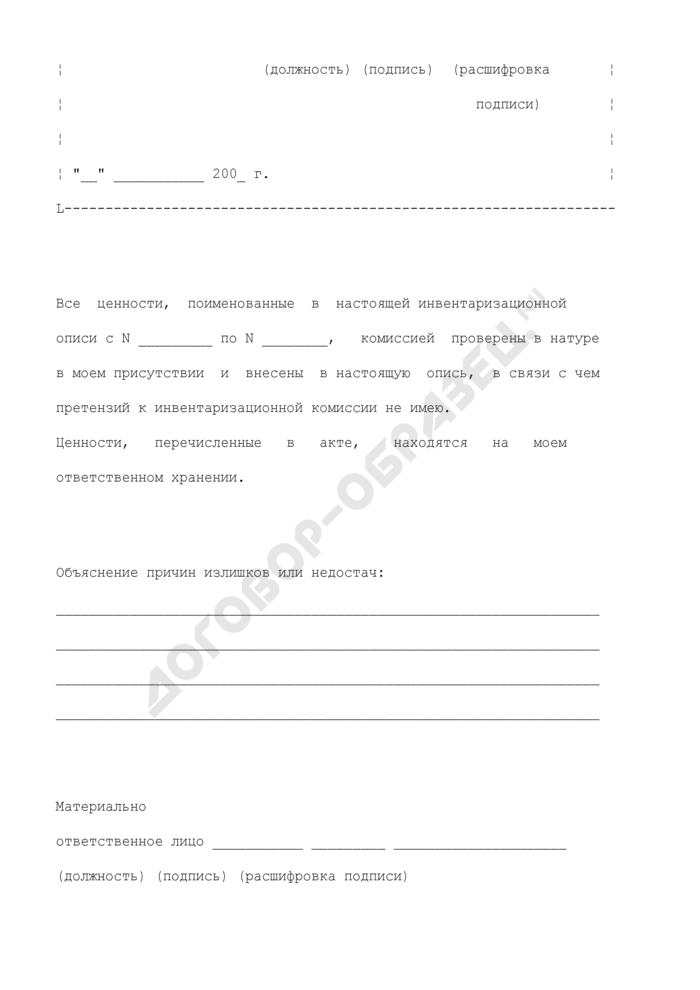 Инвентаризационная опись (сличительная ведомость) по объектам нефинансовых активов. Страница 3