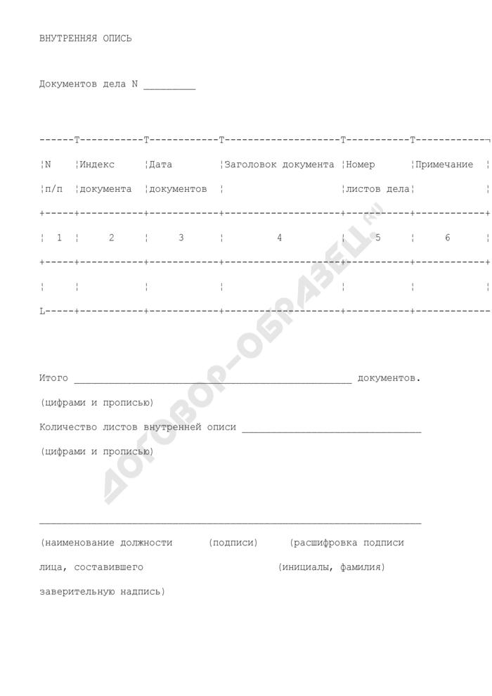 Внутренняя опись дела в администрации городского округа Рошаля Московской области. Страница 1