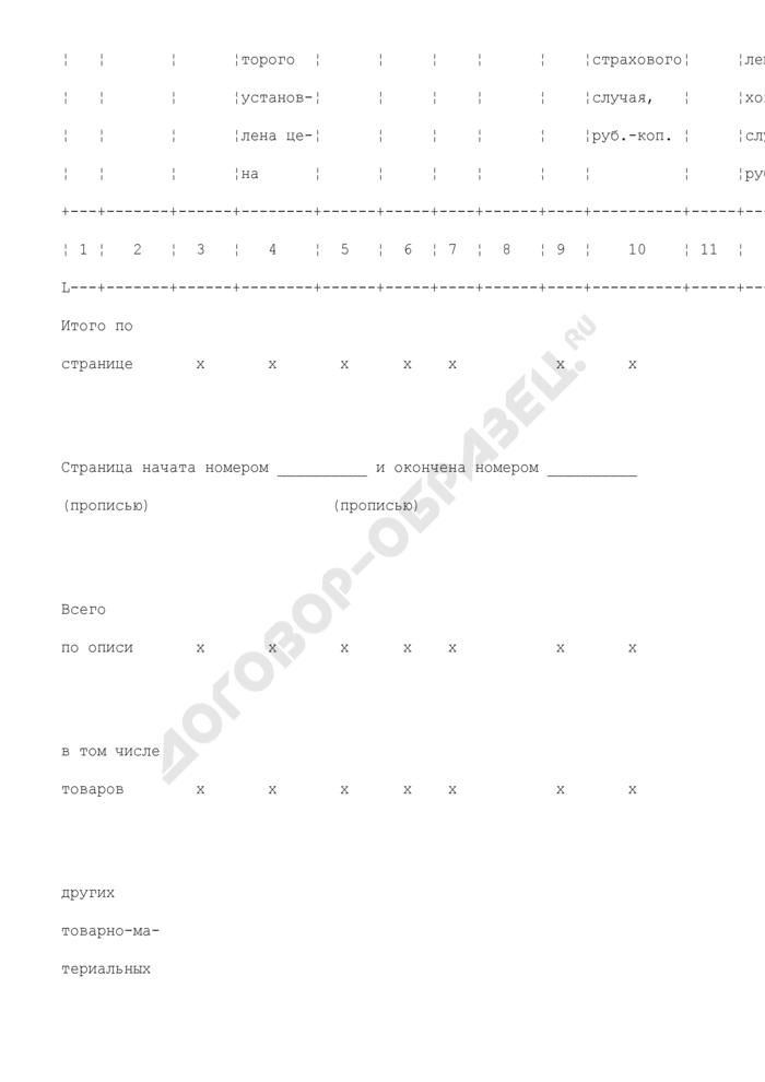 Опись готовой продукции, сырья, материалов, товаров, топлива и других товарно-материальных ценностей, оставшихся после страхового случая. Форма N 115-А. Страница 2