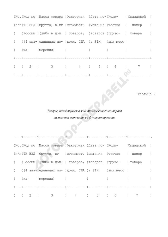 Отчет о товарах, в отношении которых проводились грузовые операции и которые хранились в зоне таможенного контроля. Страница 2
