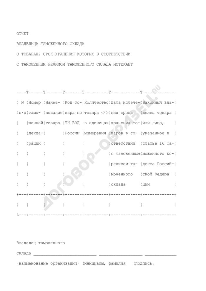 Отчет владельца таможенного склада о товарах, срок хранения которых в соответствии с таможенным режимом таможенного склада истекает. Страница 1