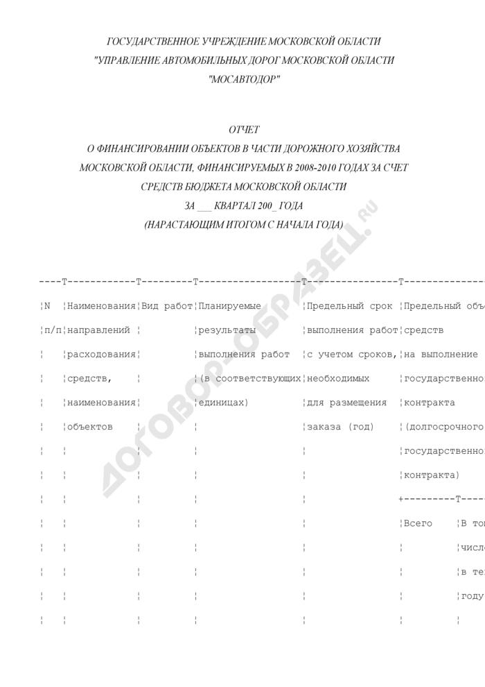 Отчет о финансировании объектов в части дорожного хозяйства Московской области, финансируемых в 2008-2010 годах за счет средств бюджета Московской области. Страница 1