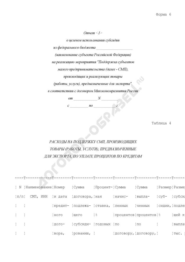 """Отчет о целевом использовании субсидии из федерального бюджета субъектом Российской Федерации на реализацию мероприятия """"Поддержка субъектов малого предпринимательства, производящих и реализующих товары (работы, услуги), предназначенные для экспорта"""", в соответствии с договором Минэкономразвития России. Форма N 6. Страница 1"""