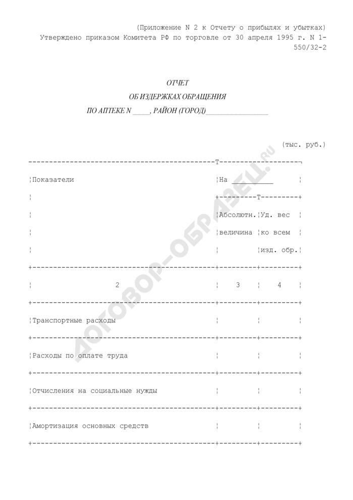 Отчет об издержках обращения по аптеке (приложение к отчету о прибылях и убытках). Страница 1