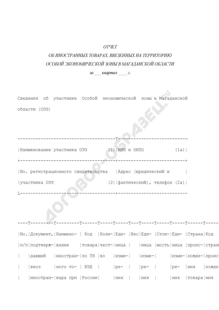 Отчет об иностранных товарах, ввезенных на территорию Особой экономической зоны в Магаданской области. Страница 1