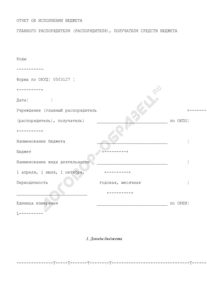 Отчет об исполнении бюджета главного распорядителя (распорядителя), получателя средств бюджета. Страница 1