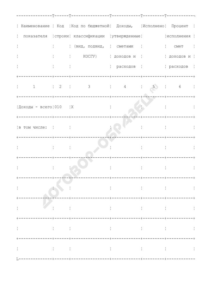 Отчет об исполнении смет доходов и расходов по приносящей доход деятельности, представляемый в Правительство Российской Федерации. Страница 2