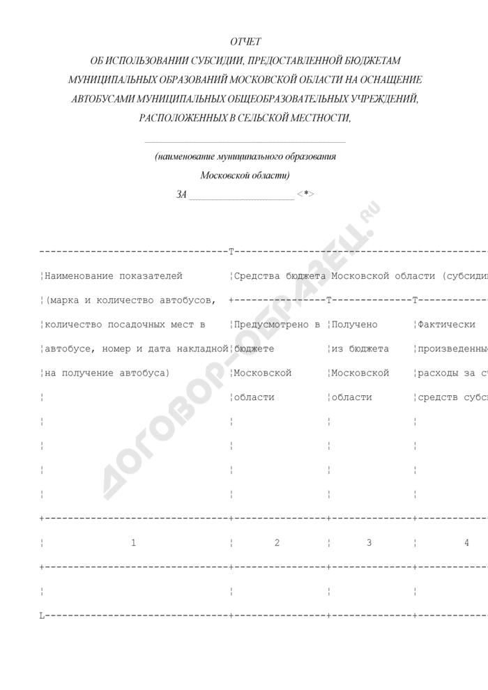 Отчет об использовании субсидии, предоставленной бюджетам муниципальных образований Московской области на оснащение автобусами муниципальных общеобразовательных учреждений, расположенных в сельской местности. Страница 1