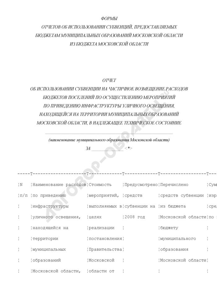 Отчет об использовании субвенции на частичное возмещение расходов бюджетов поселений по осуществлению мероприятий по приведению инфраструктуры уличного освещения, находящейся на территории муниципальных образований Московской области, в надлежащее техническое состояние. Страница 1