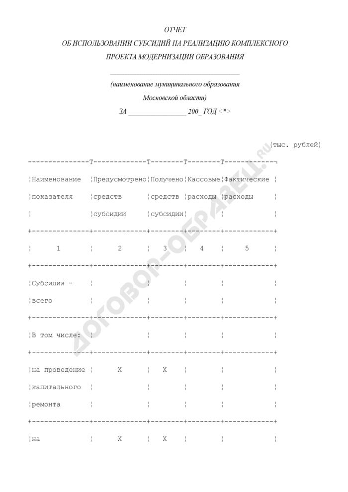 Отчет об использовании субсидий на реализацию комплексного проекта модернизации образования в Московской области. Страница 1