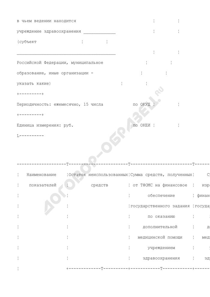 Отчет об использовании средств на финансовое обеспечение государственного задания по оказанию дополнительной медицинской помощи учреждением здравоохранения. Страница 2