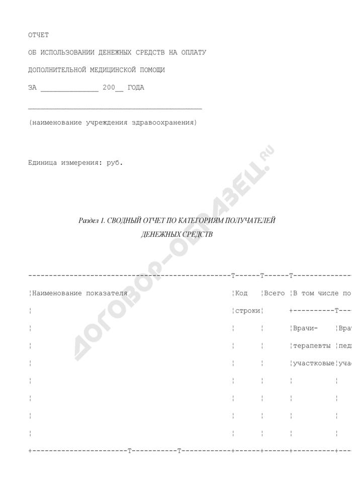 Отчет об использовании денежных средств на оплату дополнительной медицинской помощи на территории Московской области. Страница 1