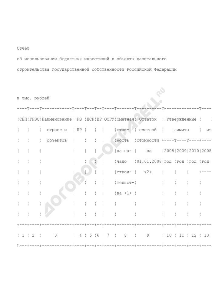 Отчет об использовании бюджетных инвестиций в объекты капитального строительства государственной собственности Российской Федерации. Страница 1