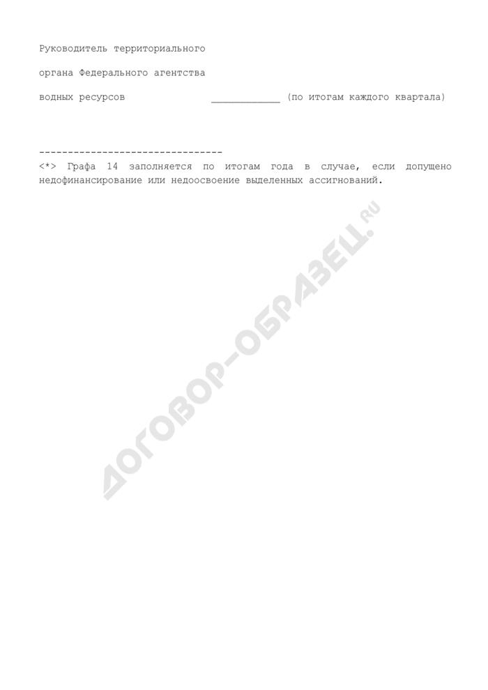 Отчет об использовании субсидий за счет бюджетных ассигнований федерального бюджета, главным распорядителем в отношении которых является Федеральное агентство водных ресурсов, на софинансирование объектов капитального строительства государственной собственности субъектов РФ (муниципальной собственности) и (или) на предоставление соответствующих субсидий на софинансирование объектов капитального строительства муниципальной собственности, не включенных в долгосрочные (федеральные) целевые программы (приложение к соглашению). Страница 3