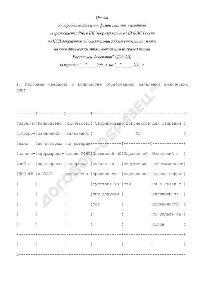 Отчет об обработке заявлений физических лиц, выходящих из гражданства Российской Федерации. Страница 1
