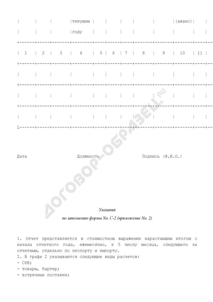 Отчет об объемах экспорта (импорта) продукции военного назначения. Форма N С-2. Страница 2