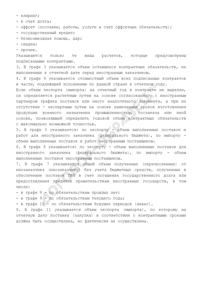 Отчет об объемах экспорта (импорта) продукции военного назначения. Форма N С-2. Страница 3
