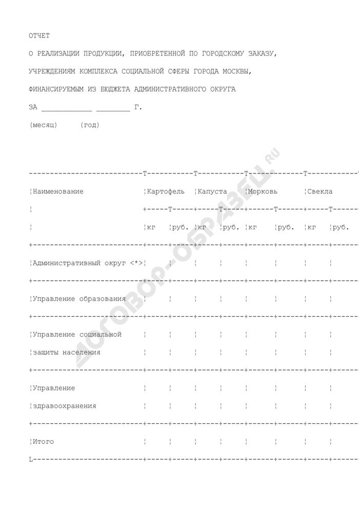 Отчет об отпуске продукции, приобретенной по городскому заказу, учреждениям комплекса социальной сферы города Москвы, финансируемым из бюджета административного округа. Страница 1