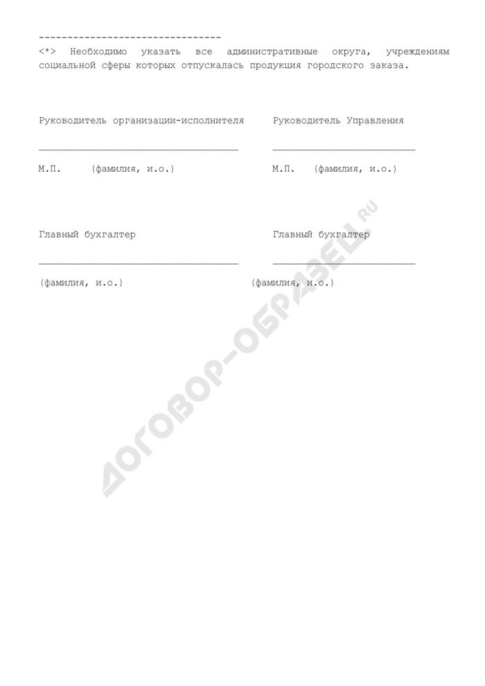 Отчет об отпуске продукции, приобретенной по городскому заказу, учреждениям комплекса социальной сферы города Москвы, финансируемым из бюджета административного округа. Страница 2