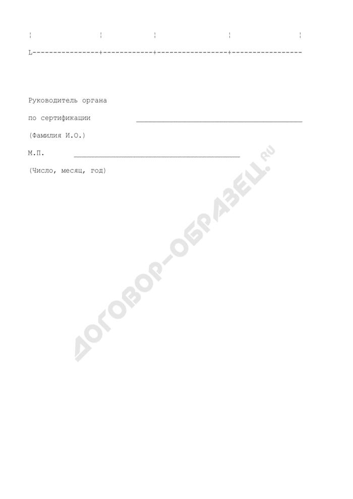 Отчет органа по сертификации о сертификатах соответствия, действие которых прекращено. Страница 2
