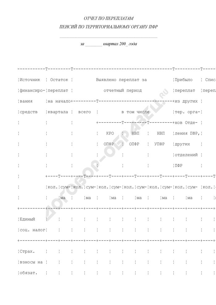 Отчет по переплатам пенсий по территориальному органу ПФР. Страница 1