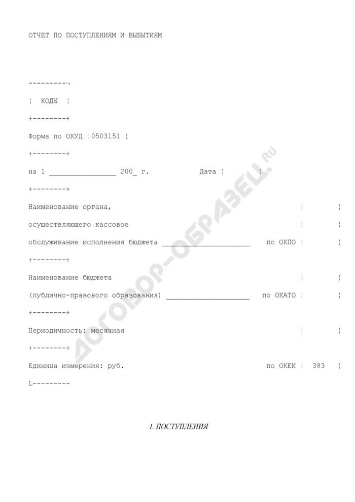 Отчет по поступлениям и выбытиям бюджетных средств. Страница 1