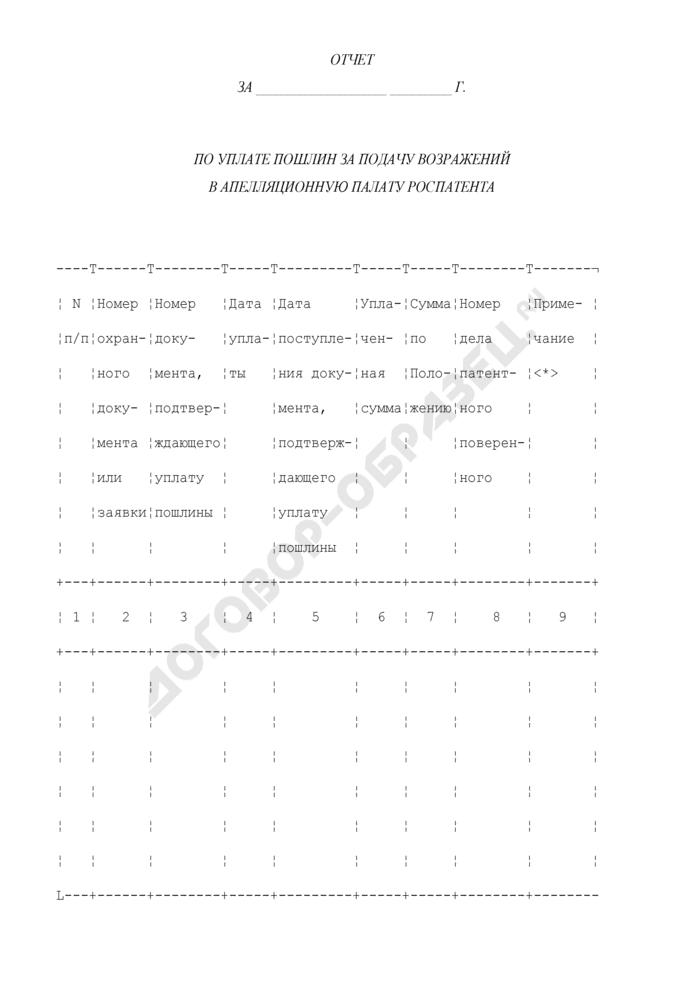 Отчет по уплате пошлин за подачу возражений в апелляционную палату Роспатента. Страница 1