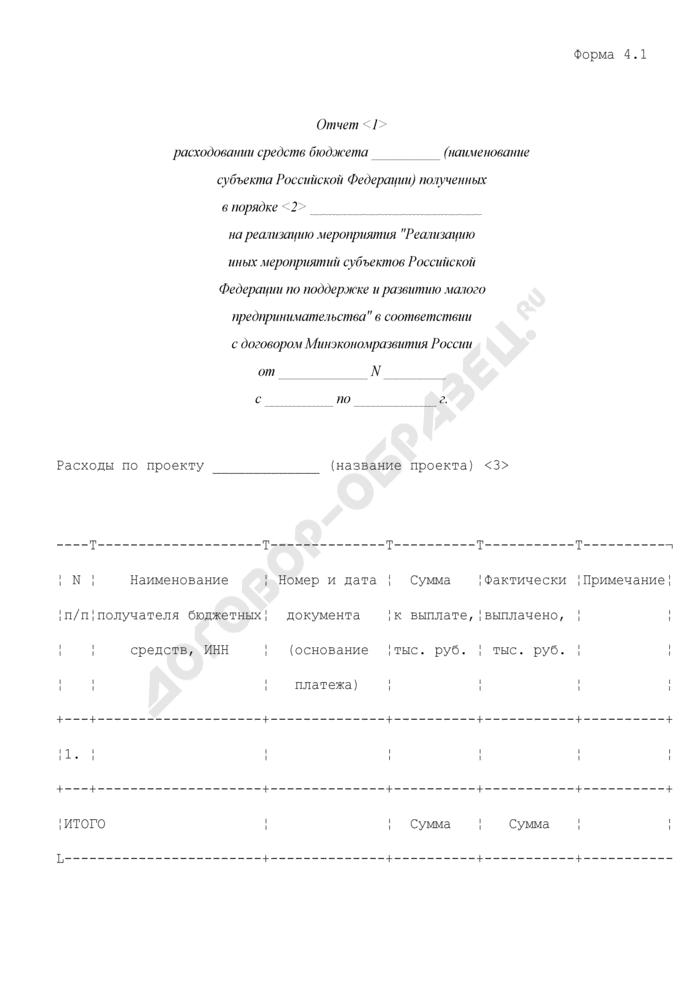 """Отчет расходовании средств бюджета субъектом Российской Федерации, полученных на реализацию мероприятия """"Реализацию иных мероприятий субъектов Российской Федерации по поддержке и развитию малого предпринимательства"""" в соответствии с договором Минэкономразвития России. Форма N 4.1. Страница 1"""