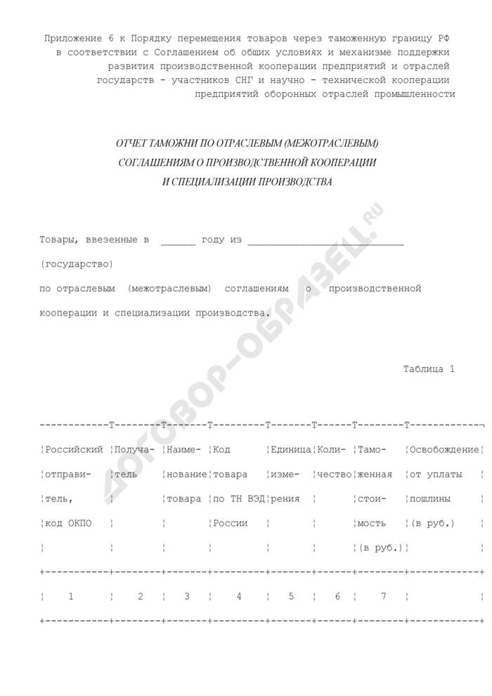 Отчет таможни по отраслевым (межотраслевым) соглашениям о производственной кооперации и специализации производства. Страница 1