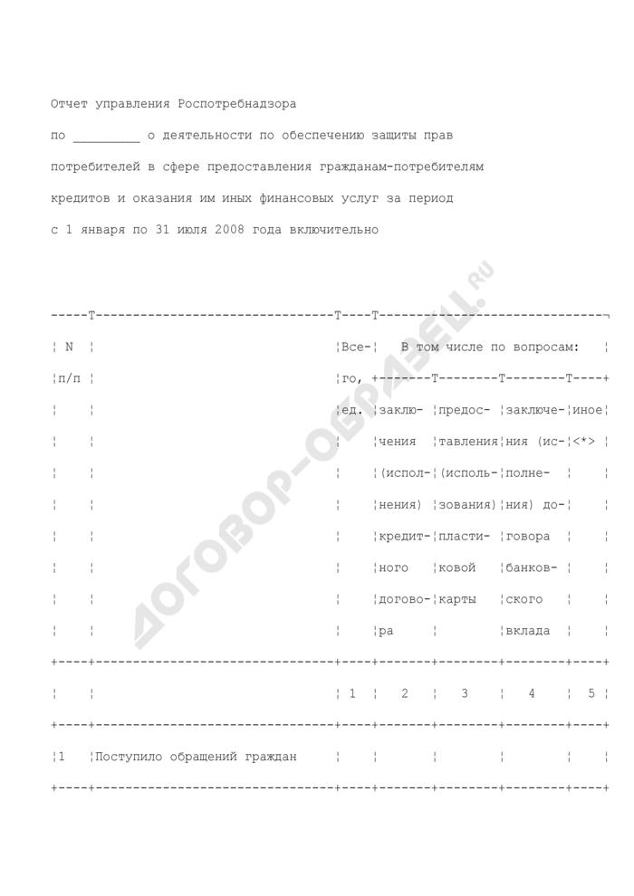 Отчет управления Роспотребнадзора о деятельности по обеспечению защиты прав потребителей в сфере предоставления гражданам-потребителям кредитов и оказания им иных финансовых услуг за период с 1 января по 31 июля 2008 года включительно. Страница 1