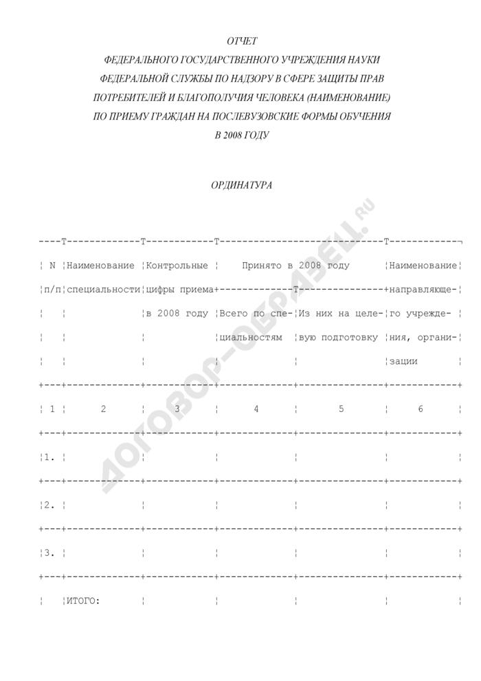 Отчет федерального государственного учреждения науки Федеральной службы по надзору в сфере защиты прав потребителей и благополучия человека по приему граждан на послевузовские формы обучения в 2008 году. Страница 1