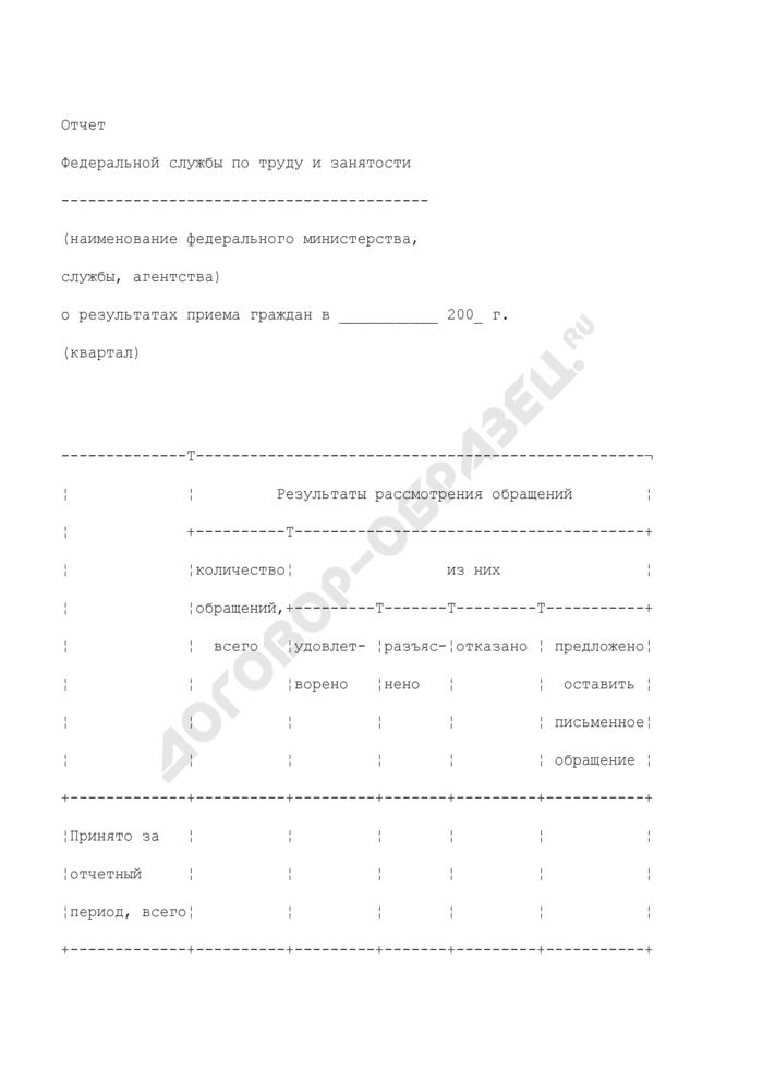 Отчет Федеральной службы по труду и занятости о результатах приема граждан. Страница 1