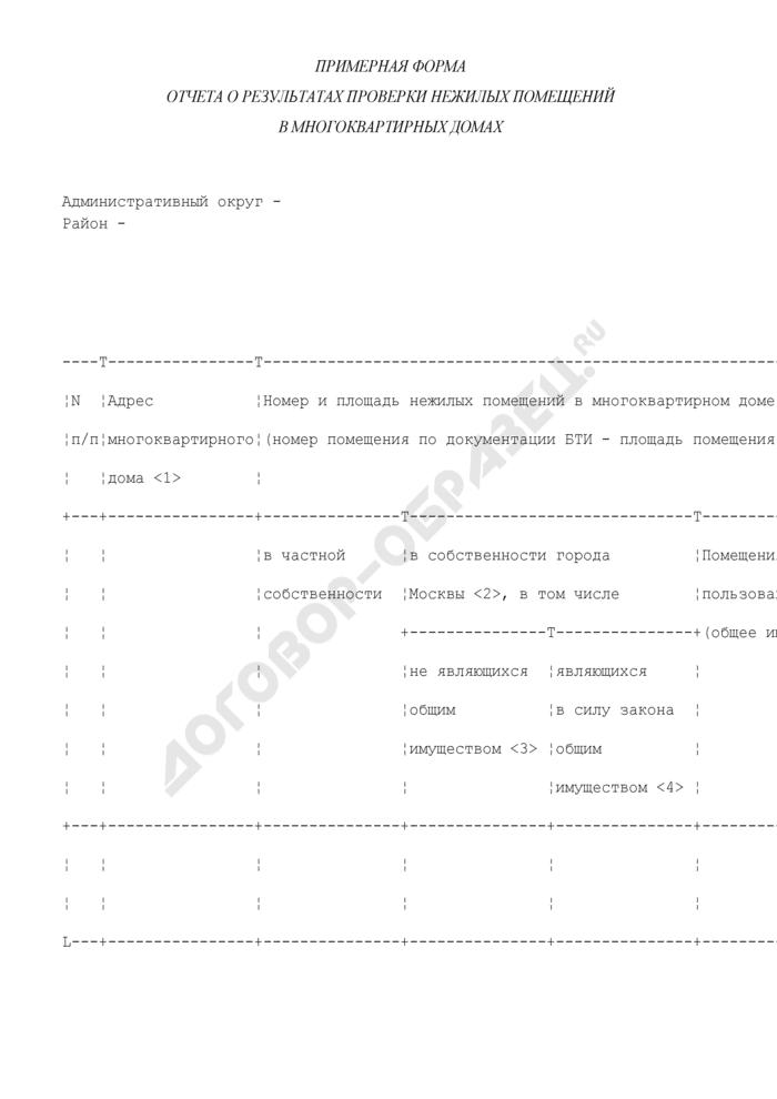 Примерная форма отчета о результатах проверки нежилых помещений в многоквартирных домах города Москвы. Страница 1