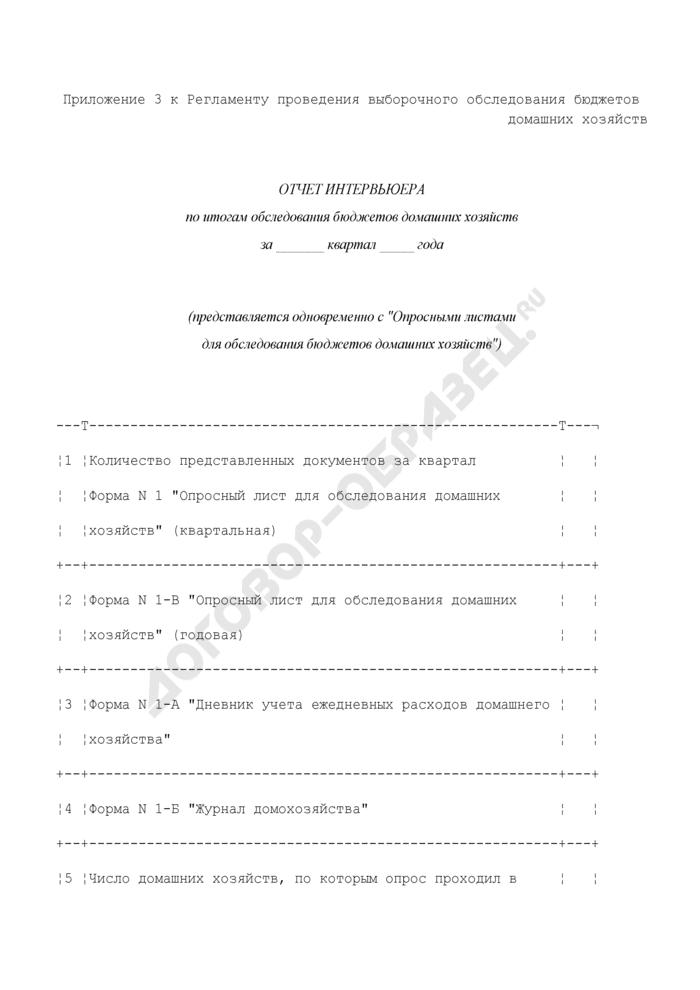 Отчет интервьюера по итогам обследования бюджетов домашних хозяйств. Страница 1