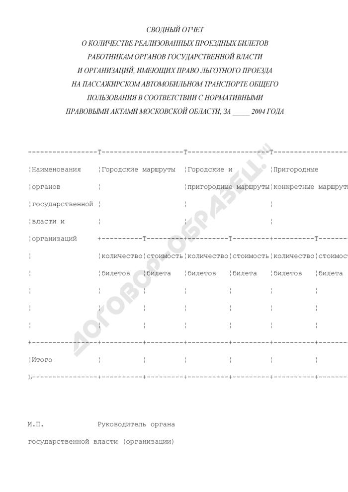 Сводный отчет о количестве реализованных проездных билетов работникам органов государственной власти и организаций, имеющих право льготного проезда на пассажирском автомобильном транспорте общего пользования. Страница 1