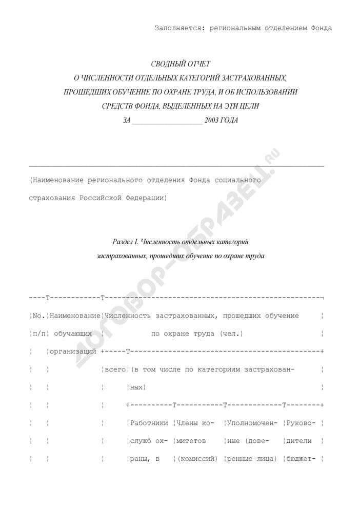 Сводный отчет об использовании средств Фонда социального страхования Российской Федерации на проведение обучения по охране труда отдельных категорий застрахованных. Страница 1