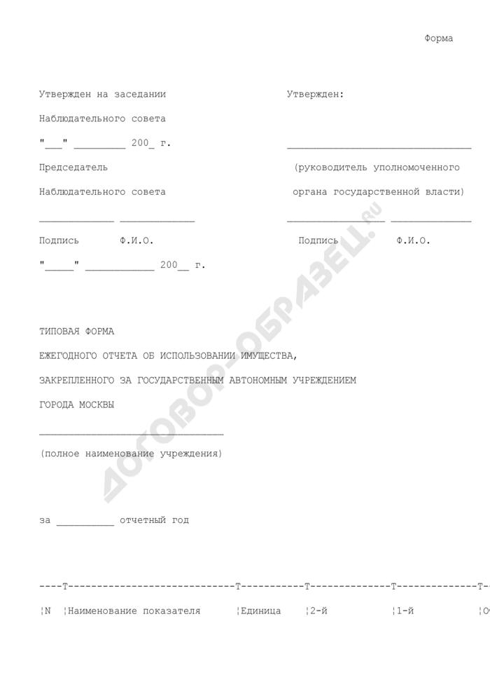 Типовая форма ежегодного отчета об использовании имущества, закрепленного за государственным автономным учреждением города Москвы. Страница 1