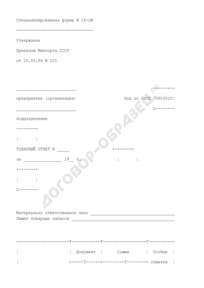 Товарный отчет. Специализированная форма N 24-ОН. Страница 1