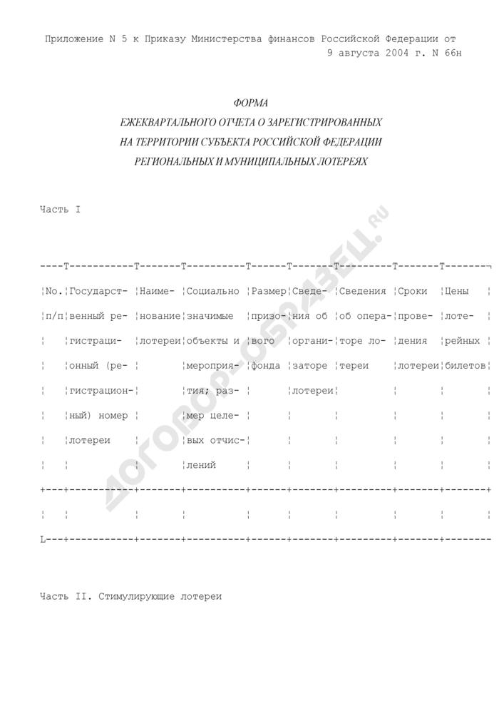 Форма ежеквартального отчета о зарегистрированных на территории субъекта Российской Федерации региональных и муниципальных лотереях. Страница 1