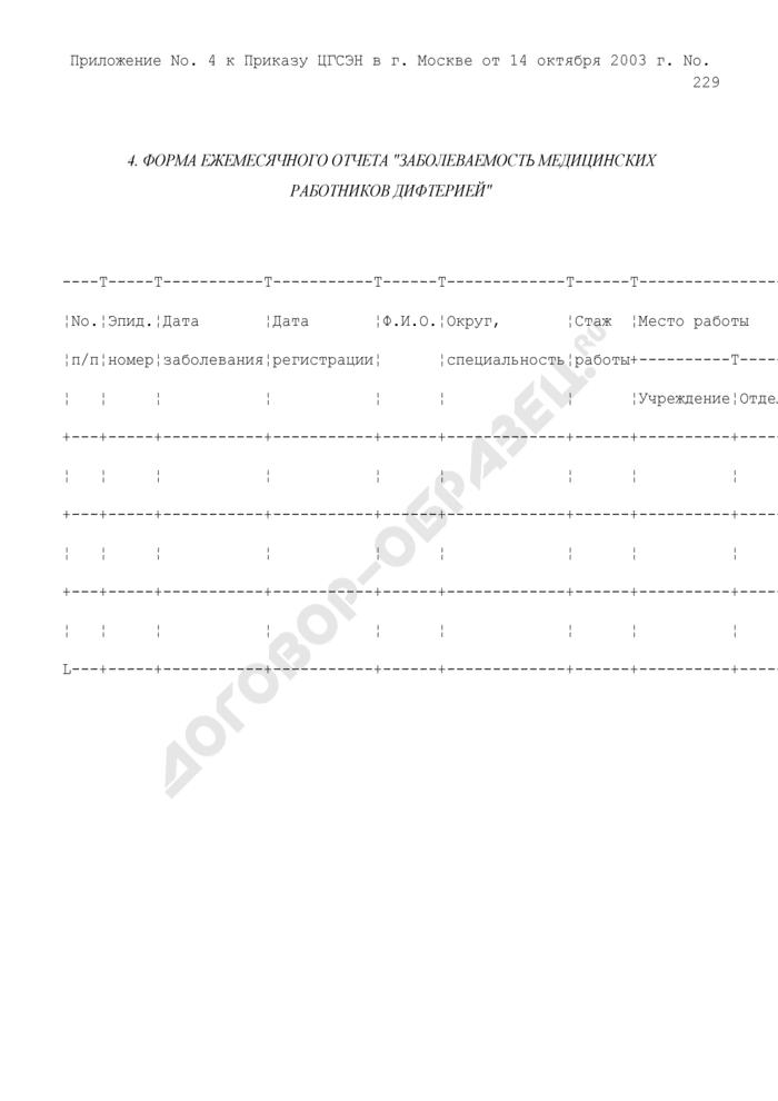 """Форма ежемесячного отчета """"Заболеваемость медицинских работников дифтерией. Страница 1"""