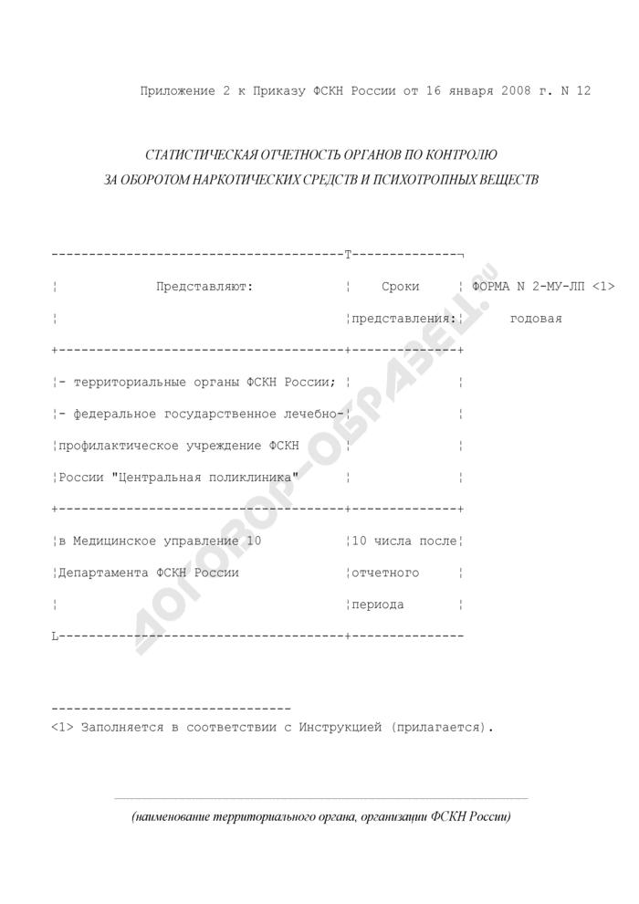 Отчет медицинского подразделения территориального органа, организации ФСКН России. Форма N 2-МУ-ЛП. Страница 1