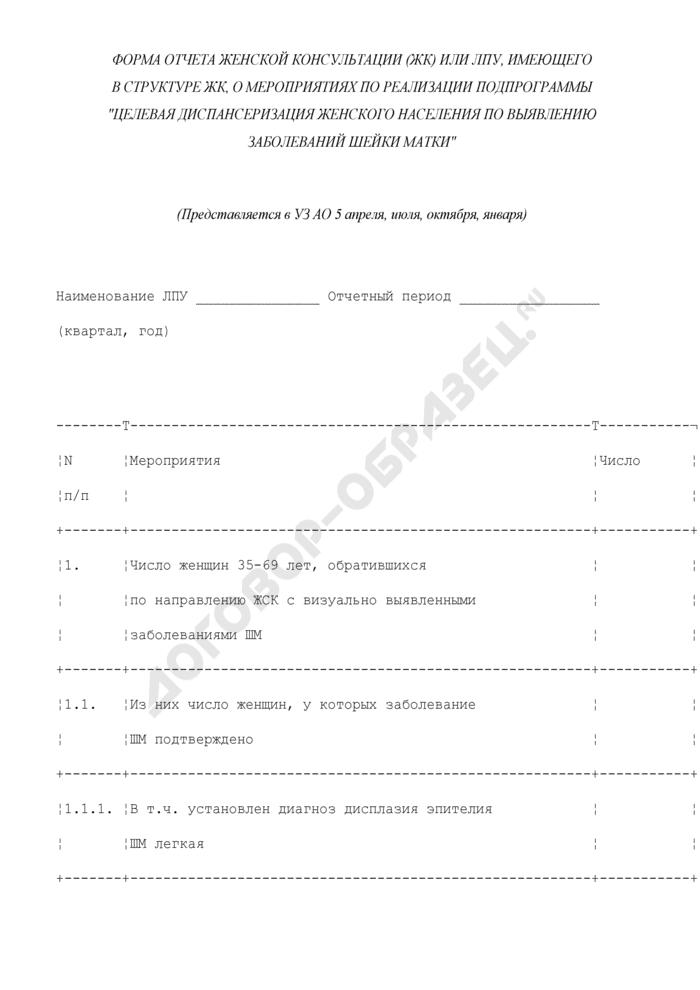 """Форма отчета женской консультации (ЖК) или ЛПУ, имеющего в структуре ЖК, о мероприятиях по реализации подпрограммы """"Целевая диспансеризация женского населения по выявлению заболеваний шейки матки. Страница 1"""