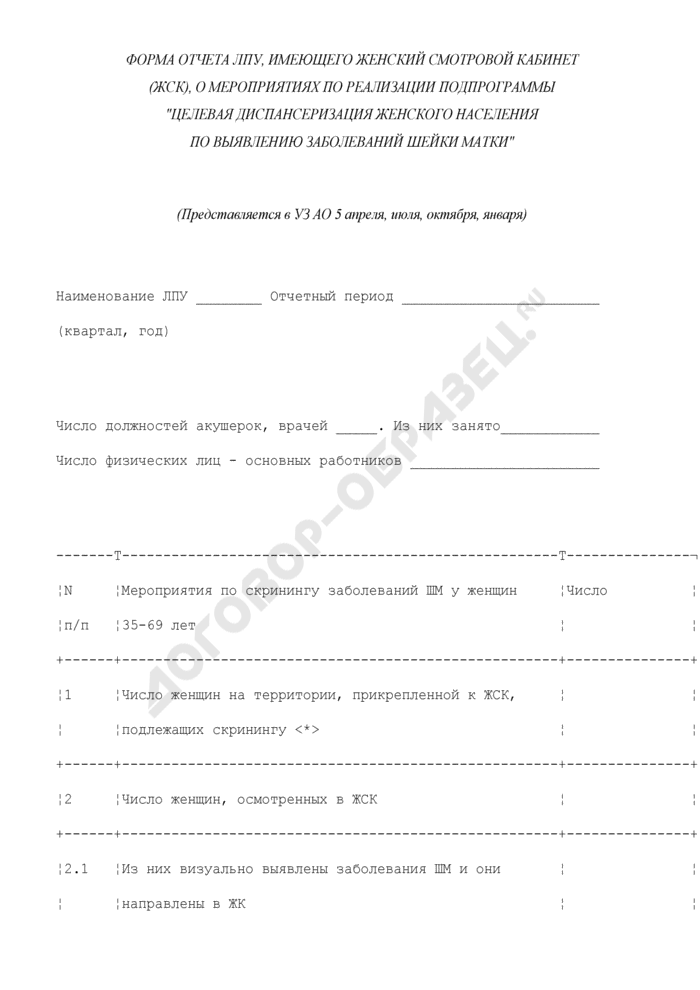 """Форма отчета ЛПУ, имеющего женский смотровой кабинет (ЖСК), о мероприятиях по реализации подпрограммы """"Целевая диспансеризация женского населения по выявлению заболеваний шейки матки. Страница 1"""