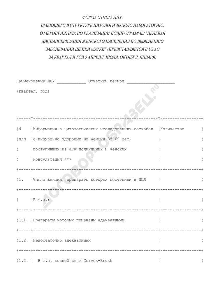 """Форма отчета ЛПУ, имеющего в структуре цитологическую лабораторию, о мероприятиях по реализации подпрограммы """"Целевая диспансеризация женского населения по выявлению заболеваний шейки матки. Страница 1"""