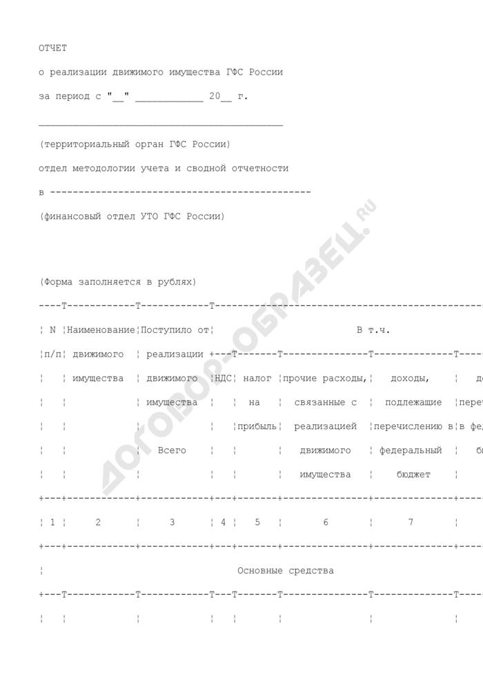 Форма отчета о реализации движимого имущества ГФС России за определенный период. Страница 1