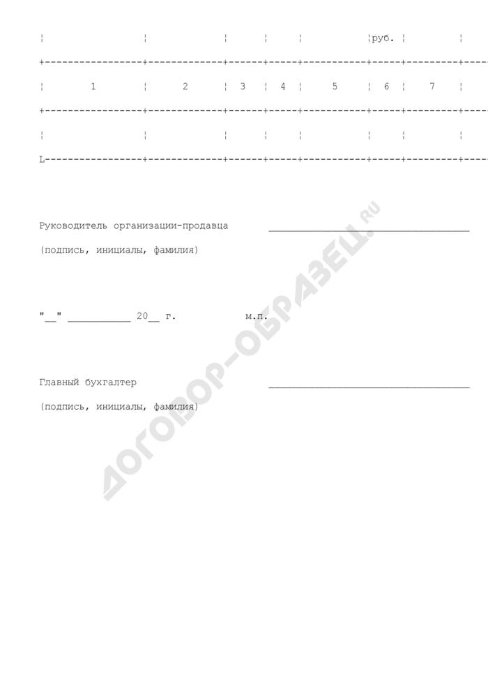 Форма отчета об исполнении поручения на реализацию (продажу) движимого имущества ГФС России. Страница 2