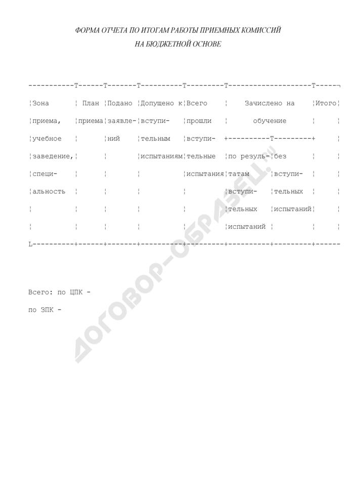 Форма отчета по итогам работы приемных комиссий на бюджетной основе. Страница 1