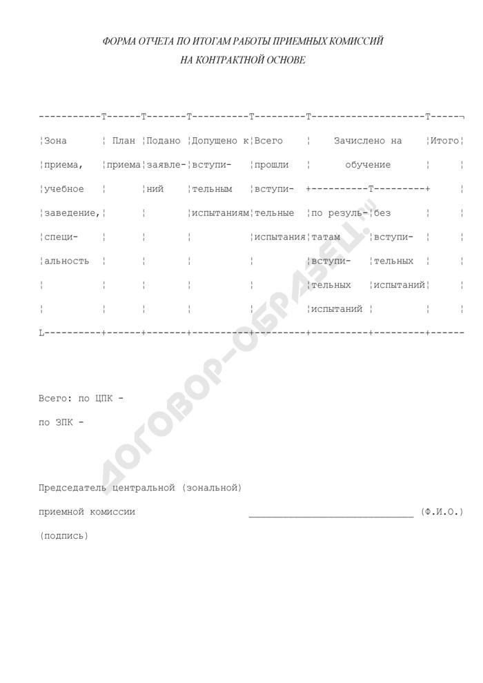 Форма отчета по итогам работы приемных комиссий на контрактной основе. Страница 1