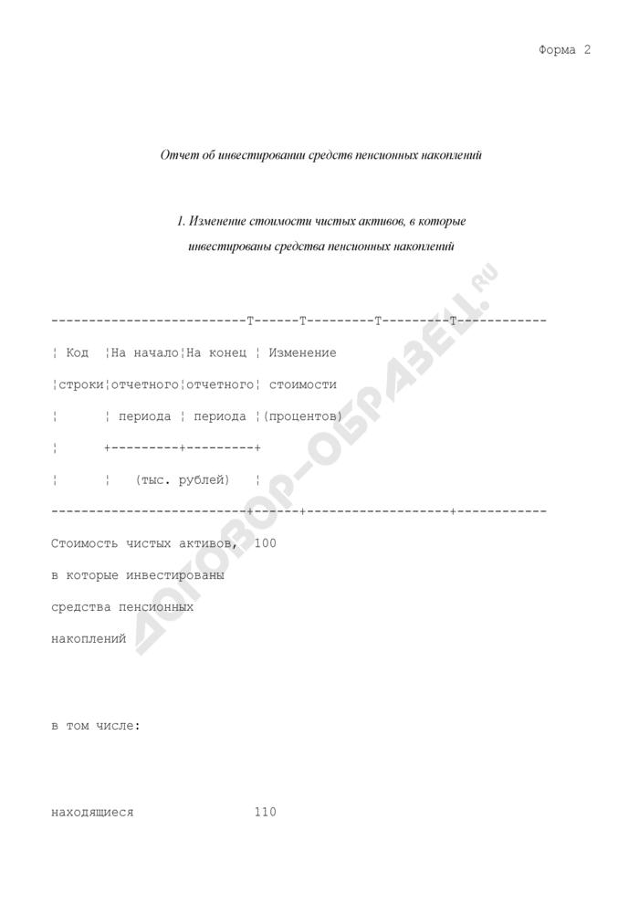 Формы отчетности негосударственного пенсионного фонда по обязательному пенсионному страхованию. Отчет об инвестировании средств пенсионных накоплений. Форма N 2. Страница 1
