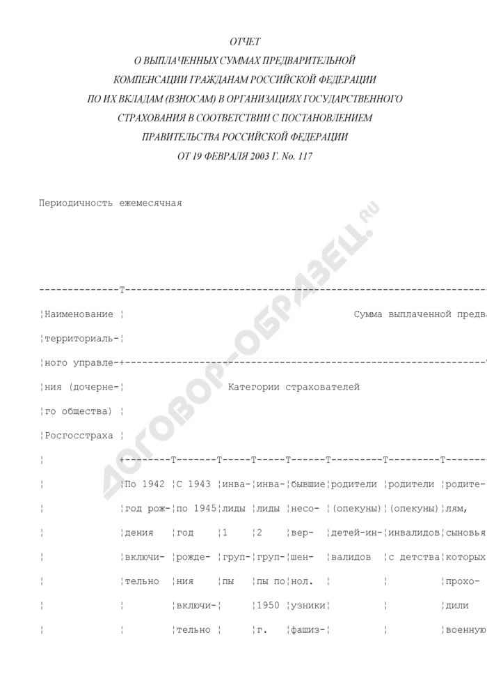 Отчет о выплаченных суммах предварительной компенсации гражданам Российской Федерации по их вкладам (взносам) в организациях государственного страхования в соответствии с постановлением Правительства Российской Федерации от 19 февраля 2003 г. N 117. Страница 1